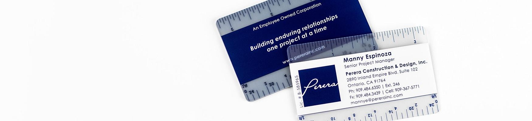 Frosted plastic construction business cards